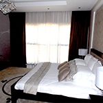 Curtains-with-net,-wallpaper,--bed-throw-and-carpet-of-Bed-Room---Dubai-Al-barsha-Villa-Project