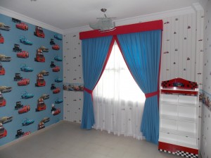 Curtain with pelmet, chiffon and wallpaper of Kids Room in Falcon City  Dubai