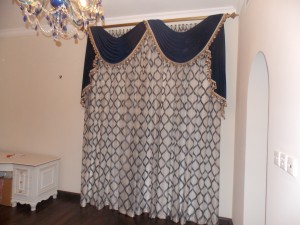 Curtains with Design of Living Area in Al Garhoud Dubai